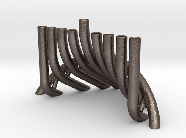 Tension Menorah in Polished Bronzed Silver Steel