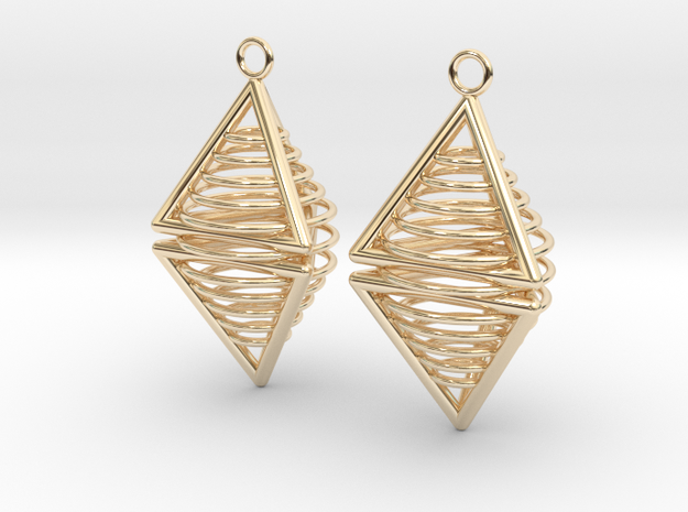 Pyramid triangle earrings serie 3 type 8 in 14k Gold Plated Brass