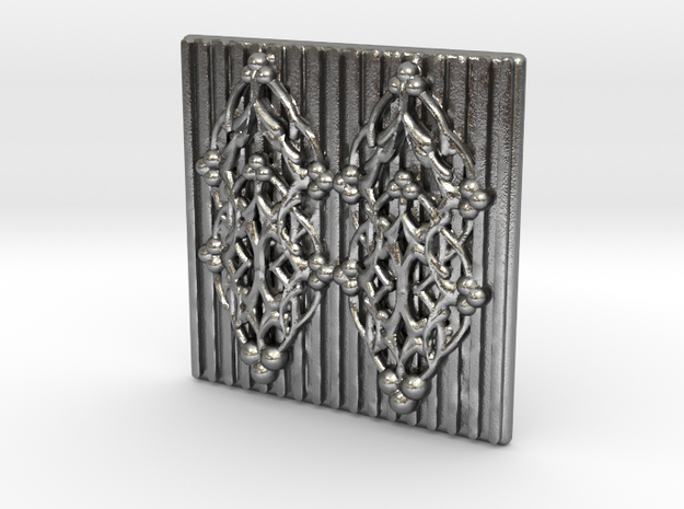 Quilted Sq Charm (Open Gates) in Natural Silver