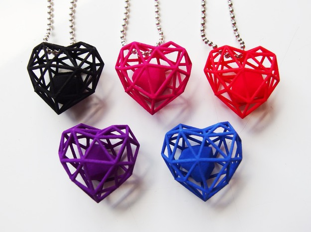 Heart Wireframe Pendant in Polished Silver (Interlocking Parts)