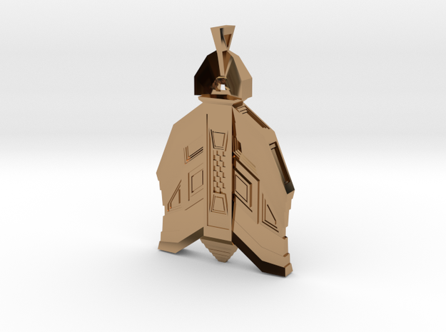 Mayan Architecture Inspired Amulet in Polished Brass