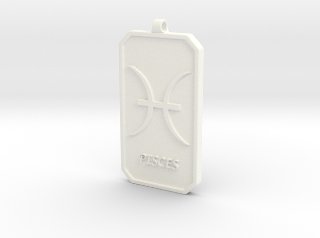 Zodiac Dogtag/KeyChain-PISCES in White Processed Versatile Plastic