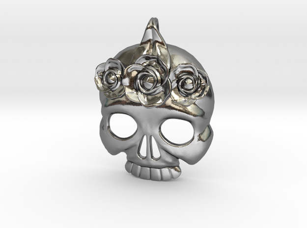 Skull with Rose Crown Charm