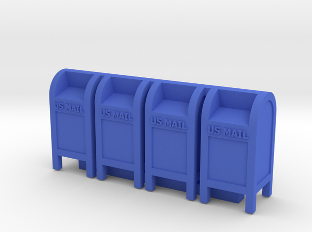 Mail Box - 72:1 Scale Qty (4) in Blue Processed Versatile Plastic