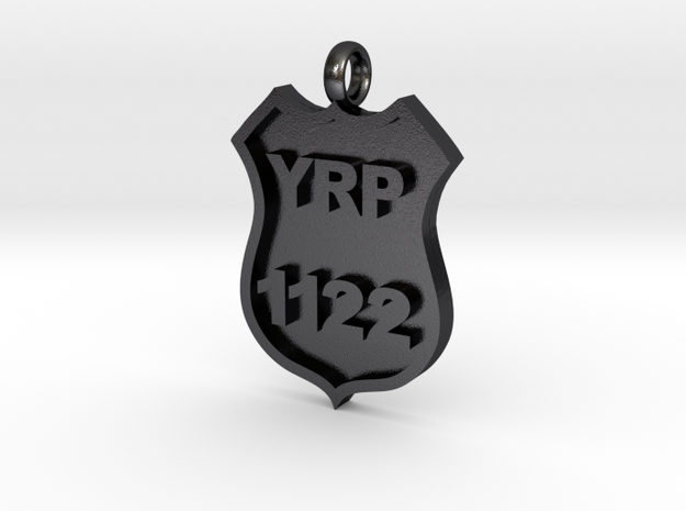 Police Badge Pendant in Polished Grey Steel