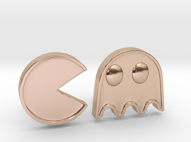 Packman Cufflinks in 14k Rose Gold Plated