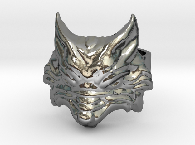Fenrir - Norse Wolf Ring - Size 10 in Polished Silver