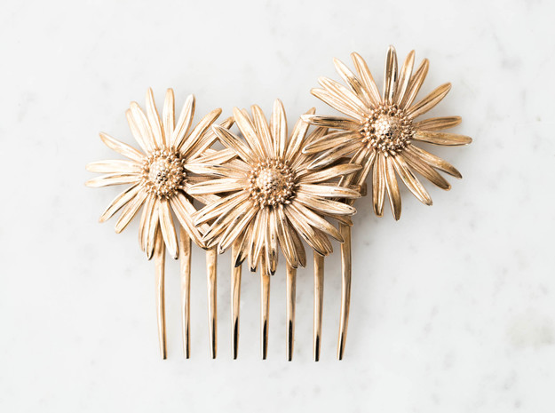 Daisy Comb in Polished Bronze