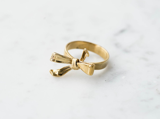 Ribbon Ring in Polished Brass: 7 / 54