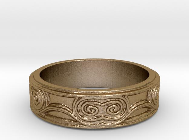 Swirl - US 7 in Polished Gold Steel