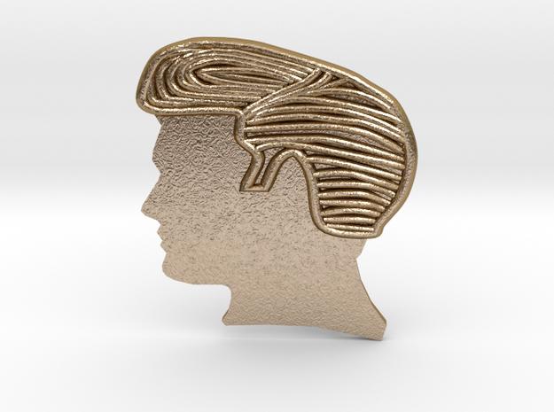 RockStar Hairstyle Belt Buckle in Polished Gold Steel
