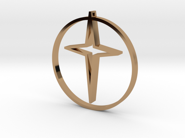 Circle Of Life Cross 30mm in Polished Brass