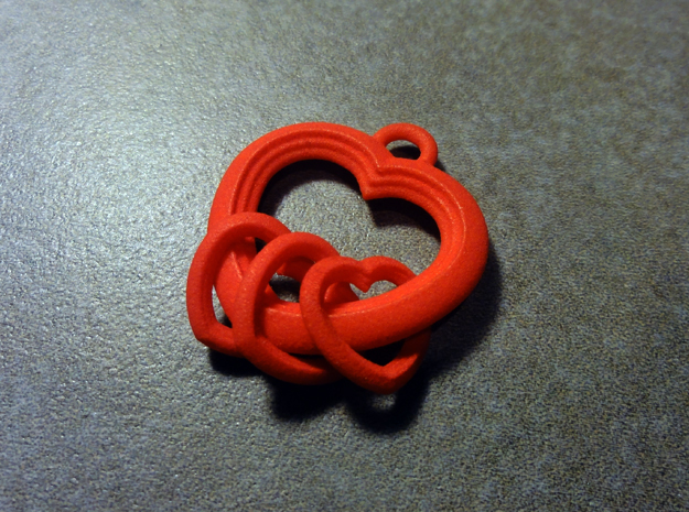2 Hearts Linked in Love 3d printed 3 Hearts Version Pictured Here