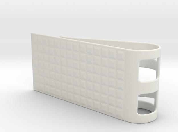 Square Pattern Money Clip 2 in White Natural Versatile Plastic