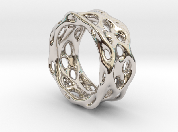 Organixz Ring 1 in Rhodium Plated Brass