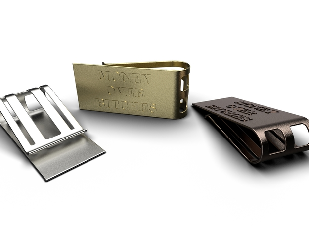 Money Over Bitches Money Clip in Polished Metallic Plastic