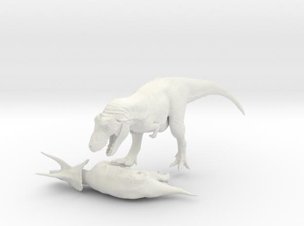 Tyrannosaurus VS Triceratops 1:40 in White Natural Versatile Plastic