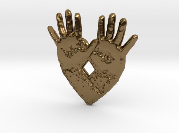 open hand open heart in Polished Bronze