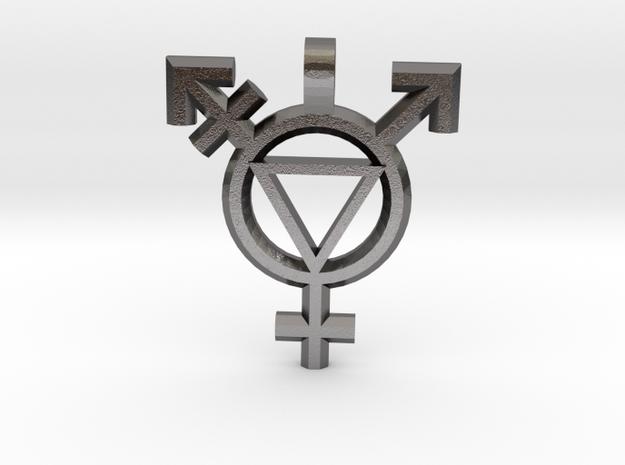 Transgender Self Acceptance Pendent in Polished Nickel Steel