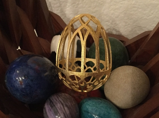 Gothic Egg Shell 2 in Matte Gold Steel