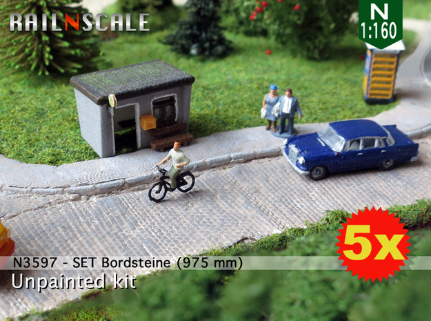 SET Bordsteine (N 1:160) in White Natural Versatile Plastic