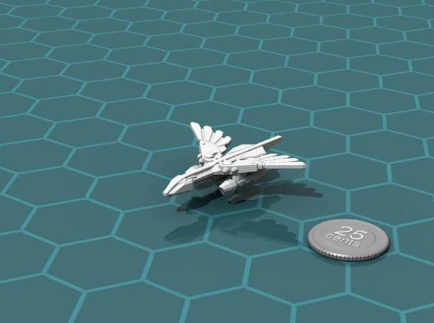 Murustan Basilisk class Destroyer 3d printed Render of the model, with a virtual quarter for scale.
