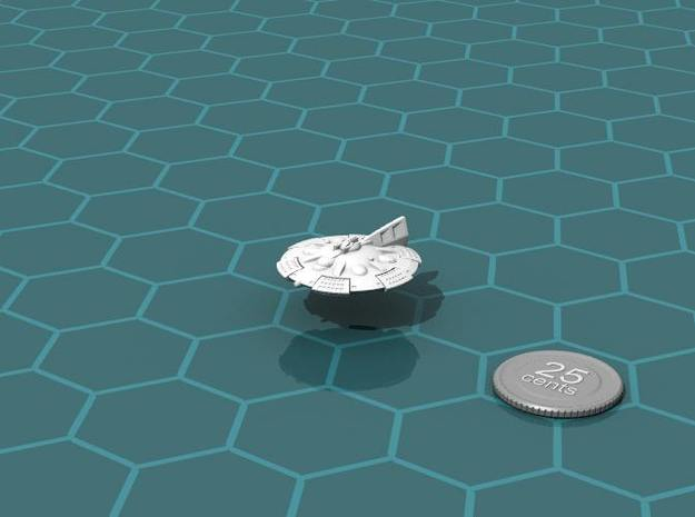 Martian Zhukov class Light Cruiser 3d printed Render of the model, with a virtual quarter for scale.