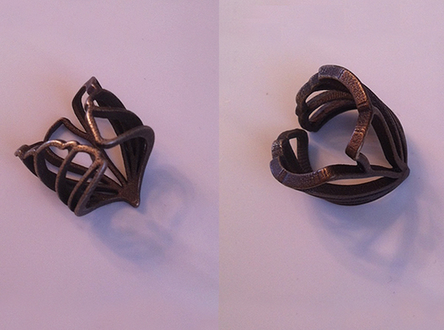 Gingko Ring 3d printed Back and top views