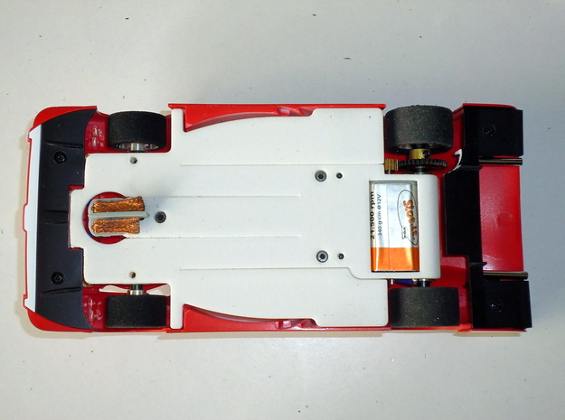 Slot car chassis for GT1 1/28 in White Strong & Flexible