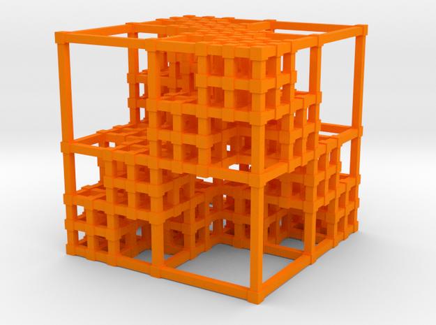 Menger Sponge v3 in Orange Strong & Flexible Polished