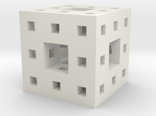 Little Level 2 Menger Sponge in White Natural Versatile Plastic
