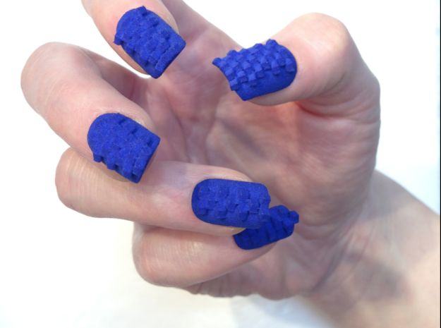 Cube Nails (Size 0)  3d printed Blue Strong and Flexible Polished