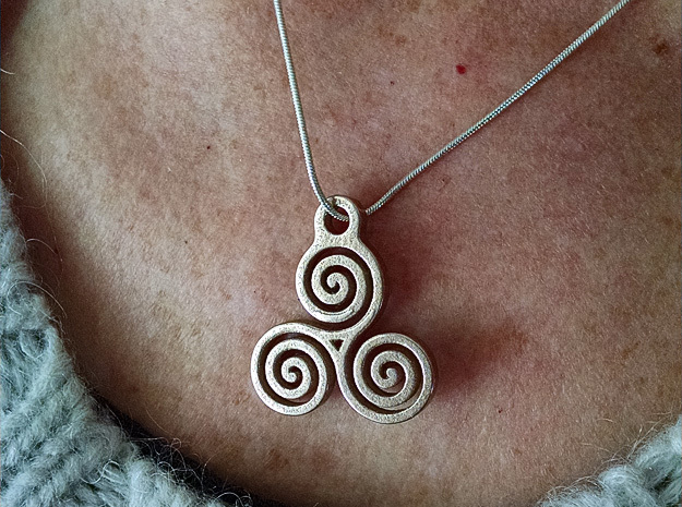 Triskelion Pendant 05 in Polished Bronzed Silver Steel