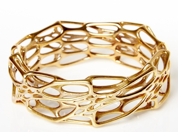 Morph Bangle sz M 3d printed In Polished Brass