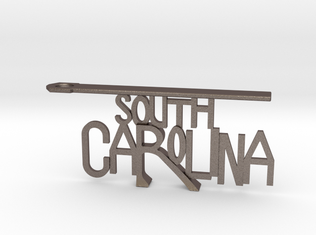 South Carolina Bottle Opener Keychain in Polished Bronzed Silver Steel