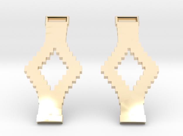 Tetris Earrings in 14k Gold Plated Brass