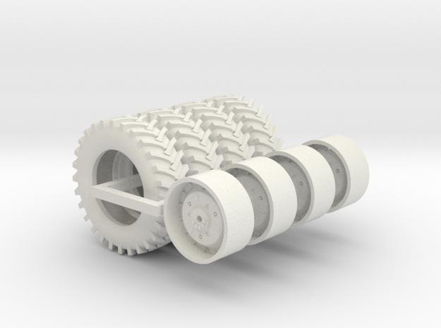 1/64 4 x 5020 Wheels And 4 x 20.8-38 Firestone 23  in White Natural Versatile Plastic