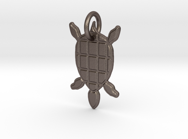 Turtle Pendant in Polished Bronzed Silver Steel