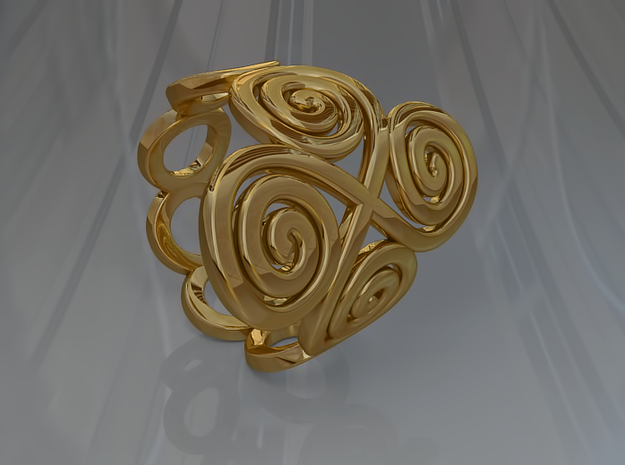 4 Spirals & Ovals Ring (Closed version ) - Size 17 3d printed 4 Spirals & Ovals Ring (Closed version ) - Size 17 - Gold