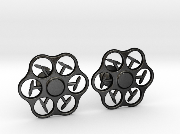 Hex Drone Cufflinks in Matte Black Steel