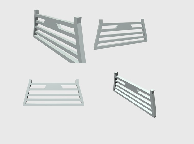 Pickup Truck Cab Guard Square Style 2pack 1/87 HO  in White Strong & Flexible
