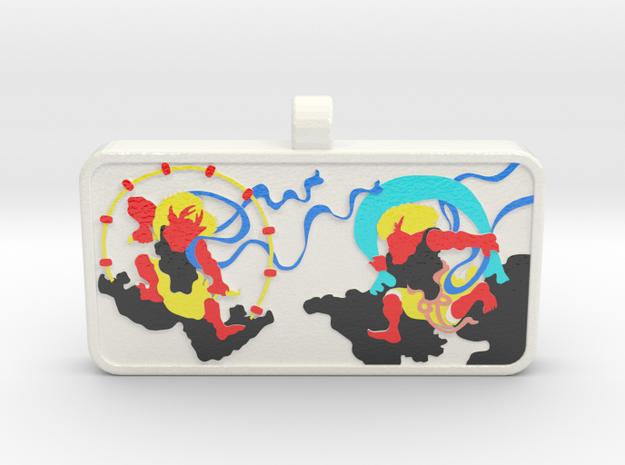 Customizable Raijin Fujin Name Tag v2 in Glossy Full Color Sandstone