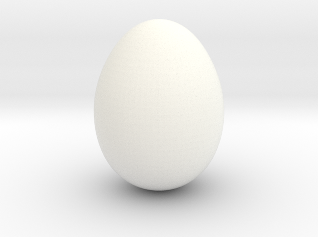 Serama Egg in White Strong & Flexible Polished