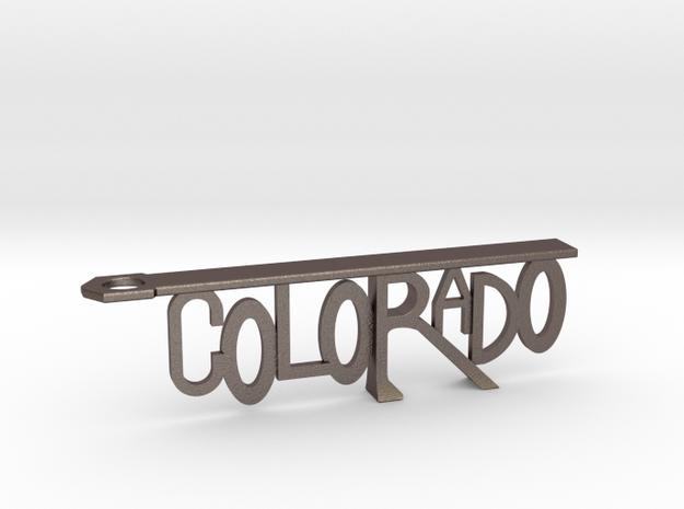 Colorado Bottle Opener Keychain in Polished Bronzed Silver Steel