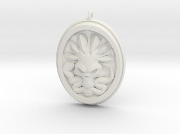 Skull and Snake Pendant 01 - 50mm in White Natural Versatile Plastic