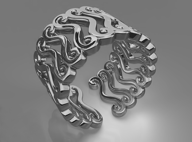 Curly ring 3d printed Curly ring (Silver)