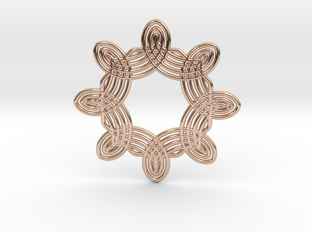 0561 Motion Of Points Around Circle (5cm) #038 in 14k Rose Gold Plated Brass