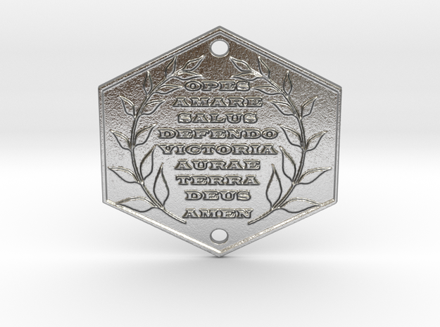 Words of Power & Blessings in Latin Door Plaque in Natural Silver