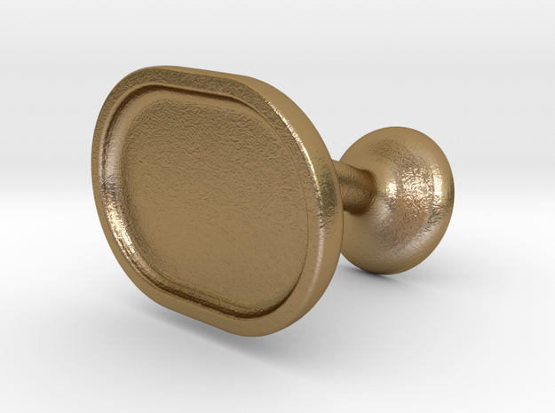 Custom Cufflink #03 - Oval in Polished Gold Steel
