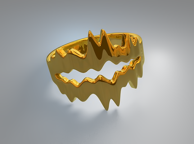 Chasm Ring in Natural Brass